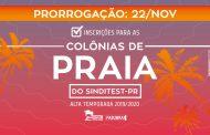 ATENÇÃO! Prorrogado prazo de inscrição para Colônias de Praia do Sinditest-PR!