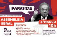 Paralisação de 18/3 e Estado de Greve estão na pauta da Assembleia da próxima quarta (4)